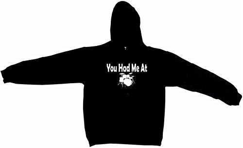 - You Had Me at Drum Set Logo Men's Hoodie Sweat Shirt XXXL (3XL), Black