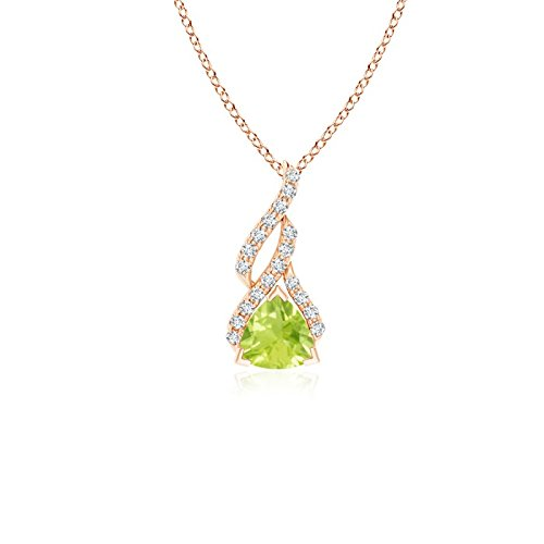 (Trillion Peridot Solitaire Pendant with Diamond Swirl in 14K Rose Gold (5mm Peridot))