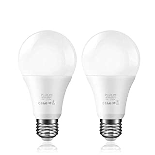 Dusk to Dawn Light Bulb,ProPOW 5W A19 Smart Sensor LED Bulbs Automatic Switch Indoor/Outdoor Lighting Lamp for Porch Garage Driveway Yard Hallway Basement Patio(E26,450lumen,Soft White,2-Pack)