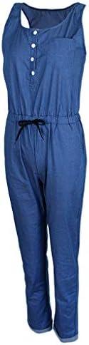Baoblaze 올인원 민소매 데님 점프 슈트 롬 퍼 신축성 여성 전체 4 페이지 2 색 / Baoblaze All-in-One Sleeveless Denim Jumpsuit Romper Stretchy Women All 4 Sizes 2 Colors