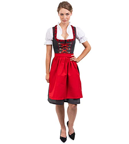 Bavarian Dirndl Dress 3pcs Set - Traditional & Modern Oktoberfest Dirndl Heidi (US:2-4 (EU:34)) Red/Blue