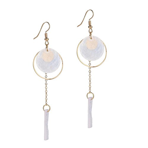 - Beuu Female Elegance Geometric Hanging Chain Tassel Earrings (Rose Gold)