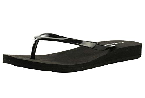 Flip-flop Para Mujeres - Material De Yoga Eva Material Summer Beach Ancho Antideslizante Strong Comfort Thong Diapositivas Sandalias (us10, Negro)