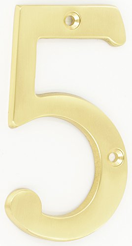 ZW Hardware A200 4 Inch Brass Bright Brass House Number 5
