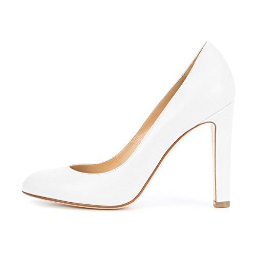 Chunky Shoes Office Elegant Round 4 Dress Pumps Slip FSJ On Toe Women White Heels Formal US Size 15 4qW1Pn