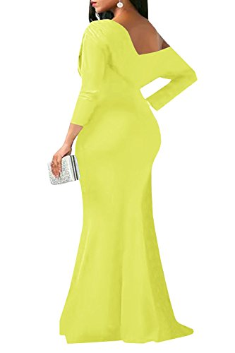 Dress Maxi Shoulder Yellow One Back Bodycon Chellysun Sexy Sleeve Women V 3 Off 4 Neck Party q6w1p7pf