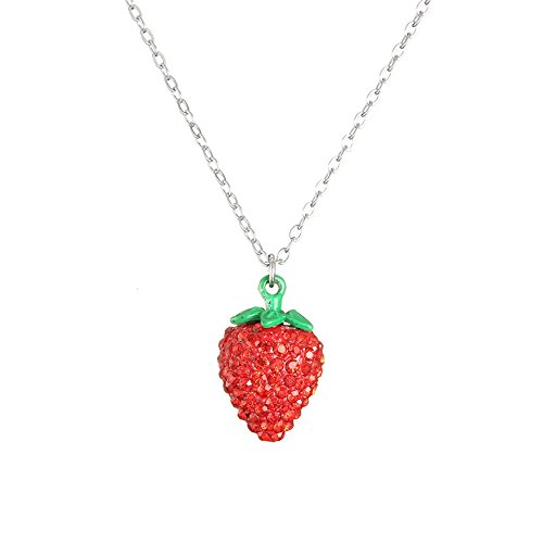 Strawberry Charm Necklace - MUZHE Womens Charm Strawberry Pendant Necklace Red Rhinestone Silver Chain Cute Fruit Pendant Necklace for Girls