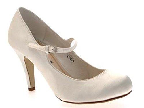 WOMENS SATIN BRIDAL WEDDING COURT PLATFORM HEEL SHOES IVORY WHITE LADIES 3 - 8 Ivory Mary Jane hI5yPjk