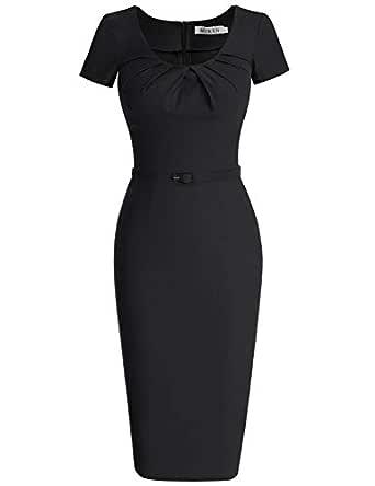 MUXXN Women's 1950s Vintage Short Sleeve Pleated Pencil Dress (S, Black)