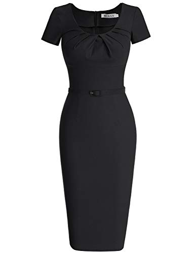 MUXXN Women's Retro 1940s Style Scoop Neck Belt Waist Bodycon Dress (S Black) ()