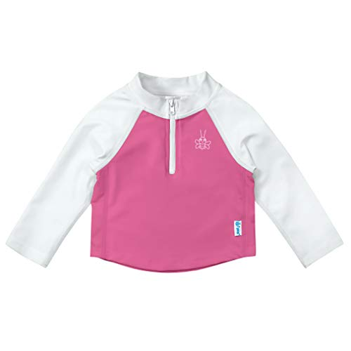 (i play. Baby Girls, White & Hot Pink Zip, 6 Months )