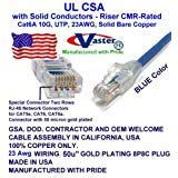 UL CMR- Blue 23 AWG SuperEcable Made in USA 36 Ft UTP Cat6a Ethernet Patch Cable