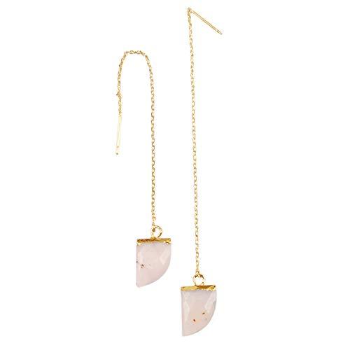 ZENGORI 1 Pair Horn Natural Pink Opal Faceted Earwire Threader Dangle Earrings 3.5