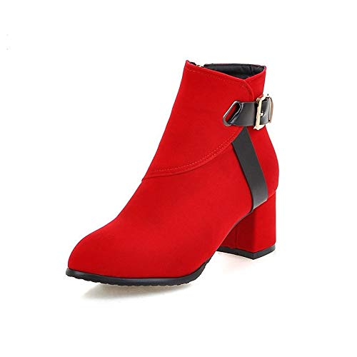 Red US2.5   EU32   UK1   CN31 Red US2.5   EU32   UK1   CN31 Women's Bootie Suede Fall & Winter Minimalism Boots Chunky Heel Round Toe Booties Ankle Boots Buckle Black Red   Party & Evening color Block