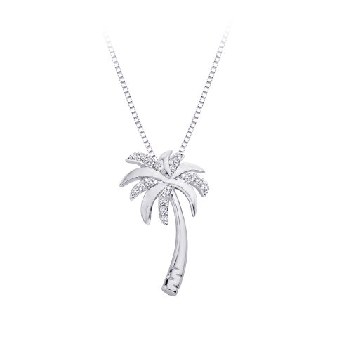 Diamond Quot Palm Tree Quot Pendant Necklace In 10k White Gold 1