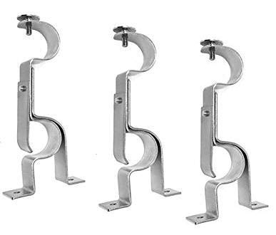 TEJATAN Double Curtain Rod Brackets - Silver (Set of 3 Brackets)