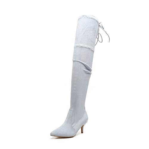 MACKIN J 224-5 Womens Faux Suede Thigh High Boots with Kitten Heel(7.5, -