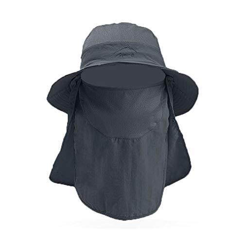 iLXHD Unisex Outdoor Drying Hot Face Sun Brim Neck Sport Fishing Cap Cap Sun Protection Hat Flap Fishing Outdoor Dark Gray ()