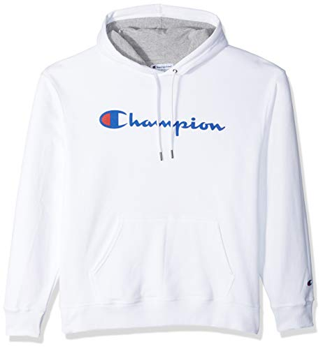 Champion Men's Graphic Powerblend Fleece Pullover Hood, White, Medium