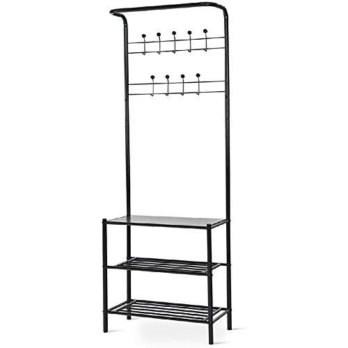 Coat Shoe Storage Rack Hanger Entryway Hooks Tier Bag Shelves Shelf (26' Wood Coat Rack)