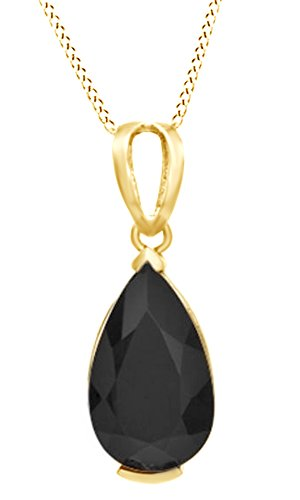 Jewel Zone US Pear-Shaped Simulated Black Onyx Pendant Necklace in 14k Gold Over Sterling Silver