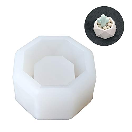 Octagon Flower - DIY Succulent Plant Flower Pot Silicone Mold Octagon Diamond Shaped Mould for Making Candy Chocolate Candle Holder Soap Ice