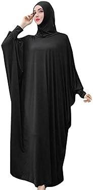 Fanteecy Women's One-Piece Prayer Dress Muslim Abaya Dress Islamic Maxi Abaya Kaftan with Hijab Full Lengt