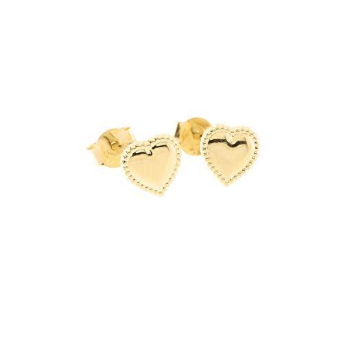 14k Yellow Gold Tiny Milgrain Edge Heart Stud Earrings ()