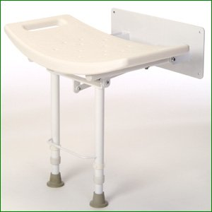 Wall Mounted Fold Down Shower Seat - With Drop Down Legs: Amazon ...