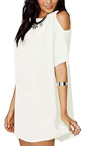 Hombros Hombros Mujer y X White Sexy Small Haokan tamaño Color Fiesta de con Descubiertos Descubiertos de Vestido HIfxqpw0C