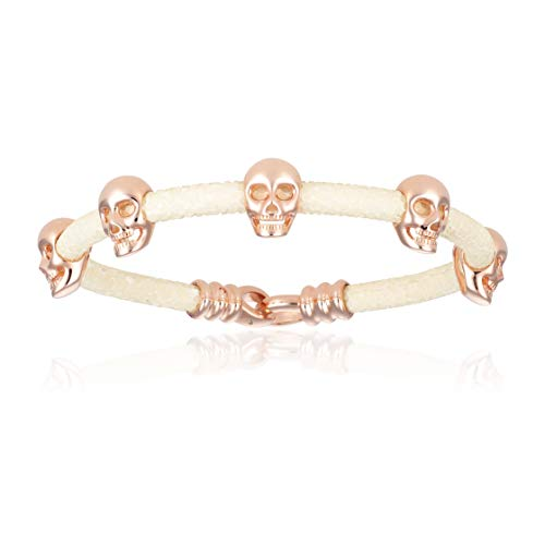 Double Bone Multi Skull Stingray Bracelet. Genuine Leather Bangle with Rose Gold Skulls for Men and Women (White, 17)