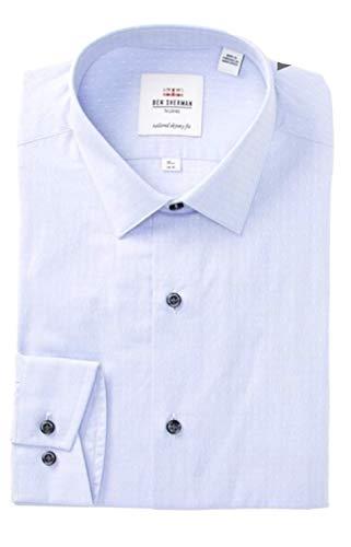 Ben Sherman Men's Silver Circle Dobby Soho Tailored Skinny Fit Dress Shirt (15.5 ()