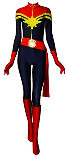 Ms Marvel Costume Carol Danvers Lady Superhero Costume Spandex Tight Halloween Cosplay Costume (Large) -