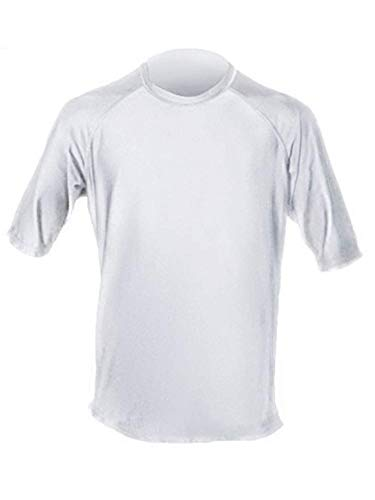 - Loose Fit Swim Shirts For Men - Short Sleeve UV 50 + Sun Protection Swimwear - Play In The Sun All Day With No Sunburn - The Softest Most Comfortable Swimming Clothing (White, Large)