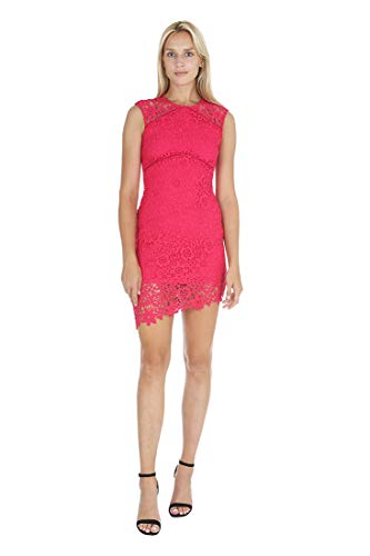 (bebe Women's Sleeveless with Illusion in Top Yoke & Bottom Hem Lace Short Dress Strawberry 6 )