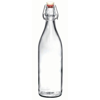 Bormioli Rocco Giara Clear Glass Bottle With Stopper, 33 3/4 oz.