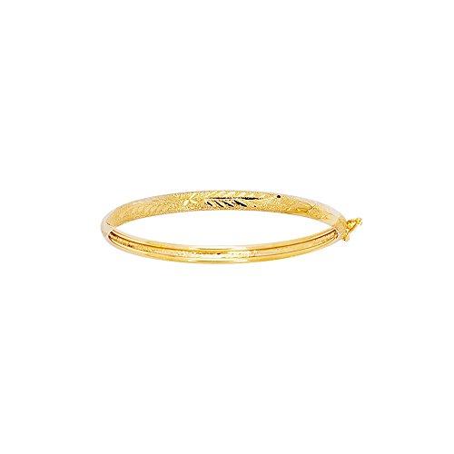 14k Yellow Gold 5.5 Inch Polish Finish Leaf Girls Bangle Bracelet by Diamond Sphere