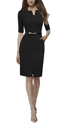 c8353ca872c REPHYLLIS Women Summer Round Neck Business Working Cocktail Party Bodycon  Dress