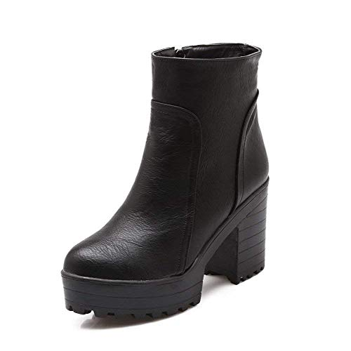 ed5f8c314a5e3 PRETTYHOMEL Women s PU Low-Top Solid Zipper High-Heels Boots
