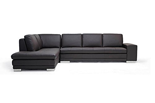 (Baxton Studio Callidora Brown Leather Sectional Sofa with Left Facing)