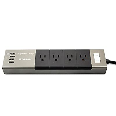 tekbotic Aluminium Grey / Black Power Strip with USB Ports : 5ft Cable - (4) AC Outlets + (4) 2.0A - 2.4A Multiple USB Charger - Short Power Strip for Desktop - Surge Protection
