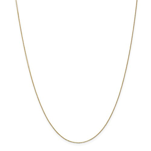 14k Gold Diamond-Cut Round Cable Chain Necklace with Lobster Clasp (0.5mm) - Yellow-Gold, 18 ()