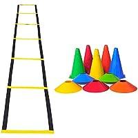 Kit Treino Agilidade Funcional Ginastica Futebol Cones + Chapeu Chines + Escada De Agilidade