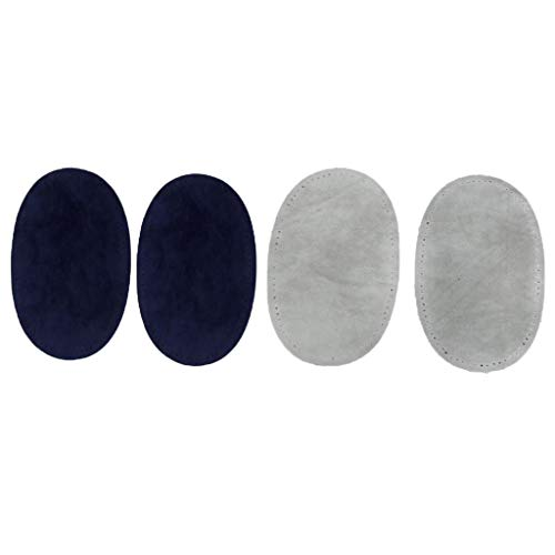 D DOLITY 2ペア ひじ ひざあて フリーパッチ 補修布 アイロン 接着 クラフト 裁縫用 ブルー&グレーの商品画像