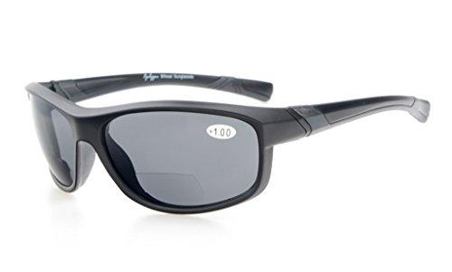 Eyekepper Fashion Sports Bifocal Sunglasses TR90 Unbreakable Outdoor Readers Baseball Running Fishing Driving Golf Softball Hiking Matte Black Frame Grey Lens - Grey 3 Black Frame Lens