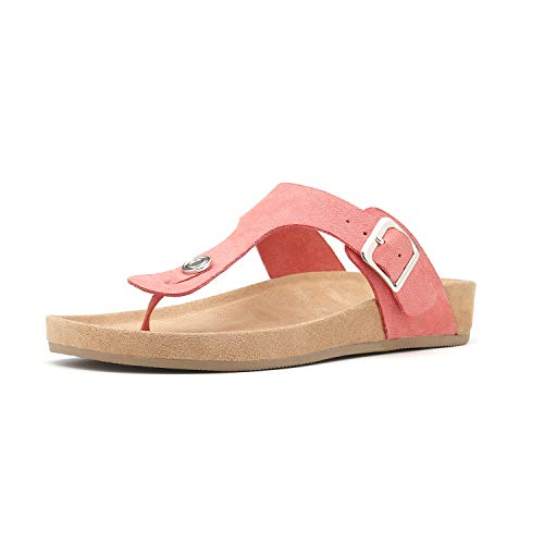 Women's T-Strap Thong Sandals Buckle Slip On Flip-Flops Beach Casual Platform Footbed Slippers (6, Peachpink) ()