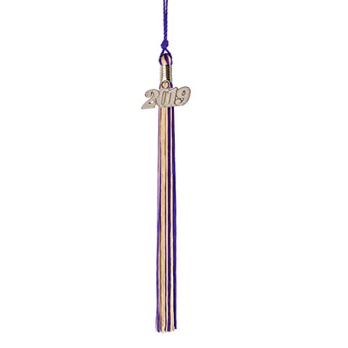 Class Act Graduation Purple and Old Gold Graduation Tassel with 2019 Silver Charm ()