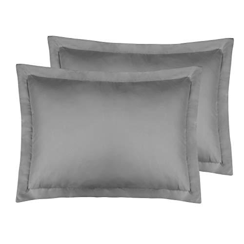 FLXXIE Standard Pillow Shams Pack of 2, 100% Brushed Microfiber, Ultra Soft, Dark Grey