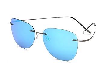 TL-Sunglasses Silueta de Titanio 100% Gafas de Sol Polaroid sin Reborde Super Ligero Hombres Polaroid Gafas de Sol polarizadas Gafas de Titanio,ZP2117 C5: ...