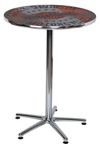 Harley-Davidson Distressed B&S Motorcycles Round Cafe Table, Chrome HDL-12330